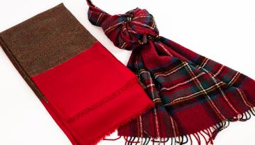A Paisley shawl, with red border and raw edge, 202cm x 108cm and a red check wool scarf,