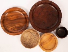 P Hannaby, a carved London plane bowl, signed, 20cm diameter/and four other carved wood bowls,