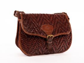 Mulberry, a brown leather woven handbag with shoulder strap, lined with zipped pocket,