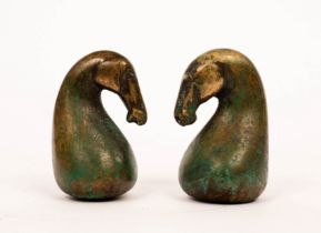 Perryn Butler (Welsh, Contemporary)/Horse and Seahorse, two patinated bronze heads,