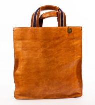 Mulberry, a tan leather tote bag, un-lined, with canvas and leather handles, disc no.