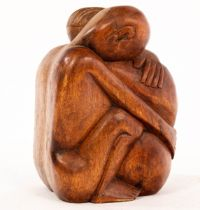 Mestrovic, a wood sculpture, seated couple embracing, signed,