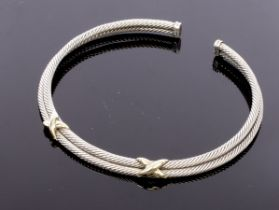 David Yurman, a silver and 14k yellow gold double torque necklace, signed,