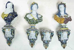 (lot of 4) A group of Samson tin glazed earthenware busts of the Four Seasons circa 1880