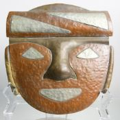 Art & Crafts hammered copper mixed metal mask signed Rostro San Augustin