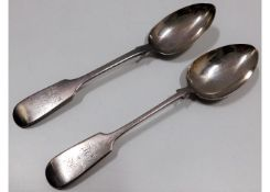 A pair of 1871 Victorian Exeter silver fiddle back