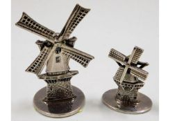 Two novelty 0.900 silver windmills, tallest 2.25in