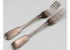 Two 19thC. London silver fiddle back forks, one Ge