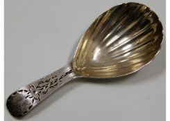 A Georgian London silver caddy spoon with shell st