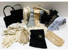 A quantity of vintage ladies kid leather, silk & cotton gloves, nurses collars, 1960's Biba hair ban