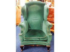 A 19thC. mahogany framed wing back armchair