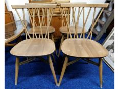 Four 1960/70's Ercol candlestick chairs with elm s