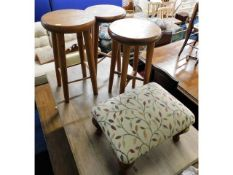 Three small stools, tallest 20.75in, twinned with