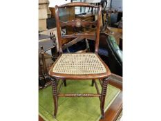 A 19thC. pretty rosewood & cane dressing table cha