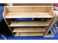 An open low level pine book shelf, 36in wide x 35.