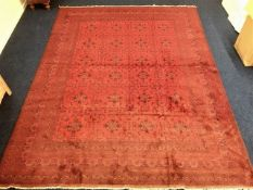 A large hessian backed rug 156in long x 119in wide