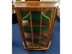 An early 20thC. display cabinet, fault with lock,