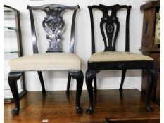 Two 18thC. country Chippendale dining chairs