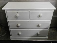 A painted Victorian pitch pine chest of drawers, 3