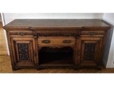A large Victorian oak dresser base, 78.125in long