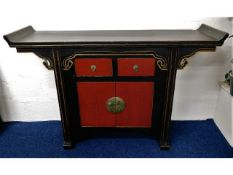 A Chinese lacquerware altar table with drawers & c