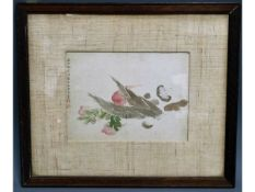 An 18thC. framed Chinese watercolour depicting still life, inscription on left, 10.75in wide x 7.75i