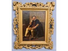A 19thC. oil on canvas of gentleman seated, signed