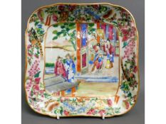 A Cantonese famile rose dish, chip to rim, 9in squ