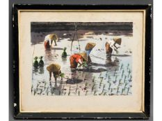 A framed watercolour depicting farming of rice in