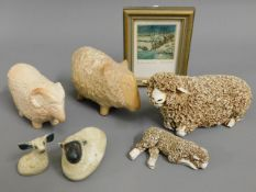 A woolly studio pottery ewe with lamb (loss to ear