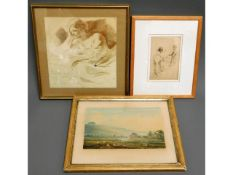 Two antique figurative sketches twinned with a 19t
