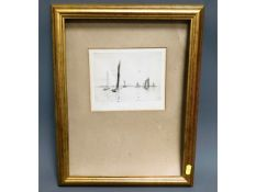 A W. L. Wyllie lithograph print of yachts on lake,