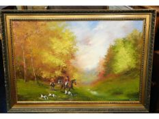 A mid/late 20thC. oil on canvas of hunting scene,