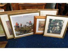 Three framed limited edition Archibald Thorburn bird prints, a Munnings print & similar decorative p