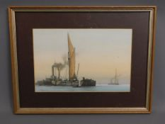 A framed, well executed watercolour depicting harb