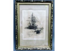 A W. L. Wyllie lithograph print of sail ship, imag