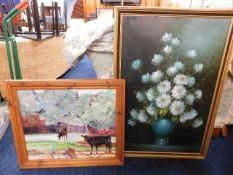 Two decorators paintings: Kathleen Cox oil of catt