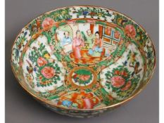 An early 20thC. Cantonese bowl, small chip to rim,