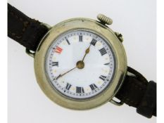 A war time trench watch with white metal case, not