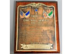 A WW1 copper masonic plaque - Liberty's Eternal Tr