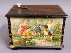 A Victorian music box, 6.75in wide x 5in high x 4.