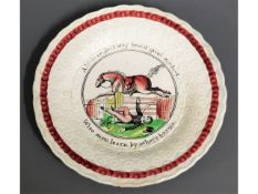 """An early 19thC. child's plate with motto """"A Little"""