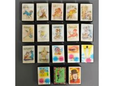 Eighteen novelty holographic vesta cases including