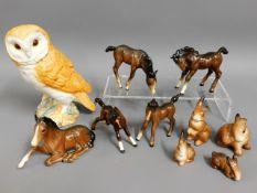 A Beswick owl twinned with Beswick ponies & other