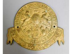 A Milner's safe plaque, 10.25in, 10.25in wide x 9.