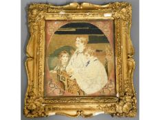 A 19thC. needlework in gilt frame depicting choirb