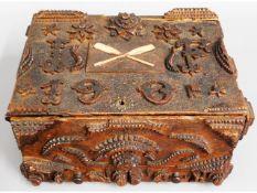 An Edwardian tramp art box, lid detached, 10.25in