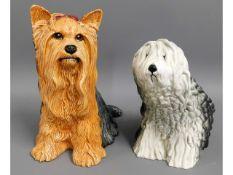 A Beswick Old English sheepdog twinned with a fire