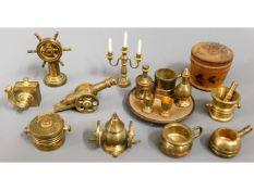 A quantity of miniature brass dolls house furnishi