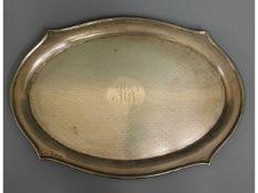 A Birmingham silver drinks tray, 11.25in x 8in, 37